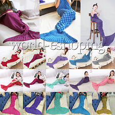 Soft Warm Knit Crocheted Mermaid Tail Blanket Quilt Kids Adult Sofa Sleeping Bag