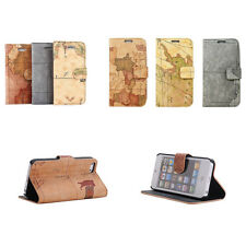 Antique World Map Leather Skin Case Cover Pouch Protector For Apple iPhone 5S 5