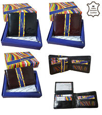 MENS REAL SOFT QUALITY LEATHER WALLET PURSE CARD HOLDER IN GIFT BOX GENTS 2005