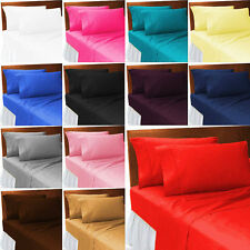 Fitted Bed Sheets Plain Dyed Poly Cotton Fitted,Flat,Valance BED Sheets All Size