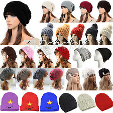 Womens Cable Knitted Slouch Beanie Hat Winter Warmer Knitwear Ski Beret Wool Cap