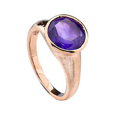 Rose Gold Plated Silver Natural Amethyst Women's Wedding Engagement Ring