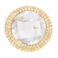 Gold Plated Silver Round Crystal Halo Women Jewelry Wedding Engagement Ring