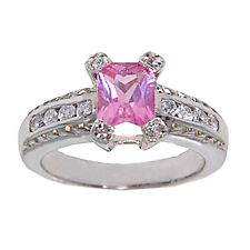 Emerald Cut Pink Created Sapphire Sterling Silver Jewelry Women Engagement Ring
