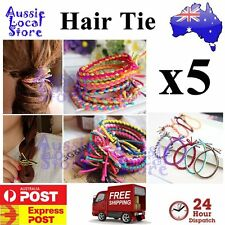 5 x Colorful Weave Braided Elastic Rubber Hair Ties Band Rope Ponytail Holder