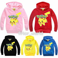 Boys Girls Pokemon Pikachu Kids Hoodies Sweatshirt Casual Long Sleeve Hoodie Top
