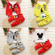 Kids Baby Boys Girls 3Pcs Set Mickey Mouse Coat+T-shirt+Pants Outfits Tracksuits