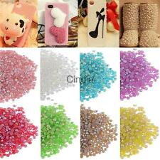 1000pcs Acrylic Half Pearl Round Beads Flatback Nail Art DIY Phone Shell Craft