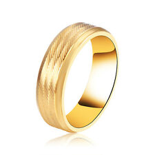Stainless steel Mens Womens Wedding Classic Twill Gold Rings Size 7 8 9 10 11