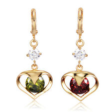 Crystal Heart 14K Gold Filled Women Girls Dangle Hoop Earrings Elegant
