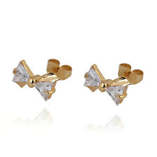 1 Pair Lovely 18K Gold Plated Triangle Clear CZ Bow Stud Earrings