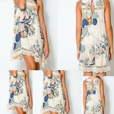Dress O neck Summer Tank Floral Print Dress Plus Size Lace Patchwork Sleeveless