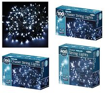 WHITE LED CHASER CHRISTMAS LIGHTS STRING XMAS INDOOR OUTDOOR LIGHTS 100/200/400