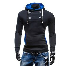 New Mens Slim Fit Long Sleeve Sport Tee Shirts Modern Four Button Casual Hoodie