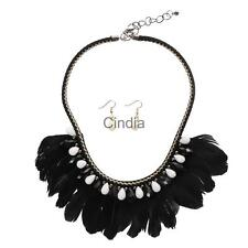 Boho Style Feather Tassel Crystal Beads Tribal Necklace Earrings Sets