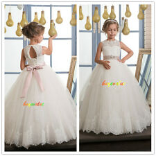 Lace Tulle Flower Girl Dress Wedding Easter Junior Bridesmaid Prom Customize 2-8