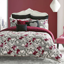 cotton 2 or 3pc pink red roses and grinning skulls pattern comforter bedding set