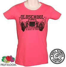 Fruit Of The Loom Hot Rod Rockabilly V8 Vintage muscle car fuchsia lady t shirt