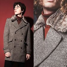 Mens Double Breasted Fur Collar Overcoat Tweed Wool Retro Style Coat S M L XL