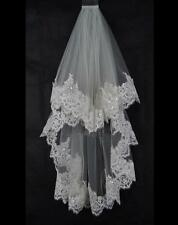 New 2 Layer Ivory/White Elbow Length Lace Sequin Wedding Bridal Veil With Comb