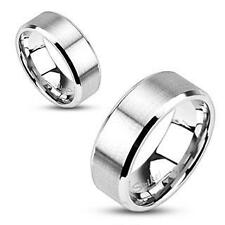 NEW Stainless Steel Brushed Flat Band 8MM All Sizes Available Size 12 Ring