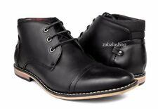 Mens Ankle Boots Chukka Shoes Lace Cap Toe lightweight Style in Italy Black