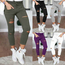Womens Ladies Leggings Stretch Skinny Faded Ripped Slim Fit Pants Jeans Trousers