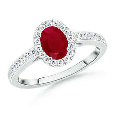 Solitaire Natural Ruby & Diamond Halo Engagement Ring 14k White Gold Size 3-13