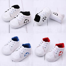 New Baby Boy Girl Football Print Sneakers Shoes Lace Up Running Sport Shoe 0-18M