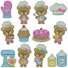 KITCHEN BEARS * Machine Embroidery Patterns * 12 designs in 3 sizes