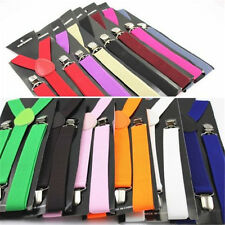 Mens Womens Elastic Clip-on Solid Color Y-Shape Adjustable Braces Suspenders 1 f