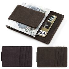 Mens PU Leather Money Clip Slim Purse Wallets ID Credit Card Holder Bifold BF9