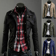 NEW Mens Zip Button Hooded Military Slim Fit Collar Jacket Long Coat Top Outwear