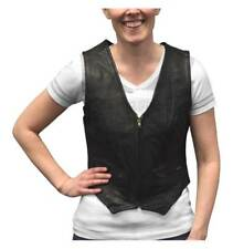 Redline Leather Women's Zip Front Leather Motorcycle Riding Vest, Black LEV-222
