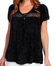NEW - One World Mineral Wash Flutter Sleeved Crochet Lace Trim Hi-Lo Peasant Top