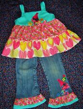 Children's Girls Boutique Poppy Troll outfit Handmade Top, Jeans Gymboree,