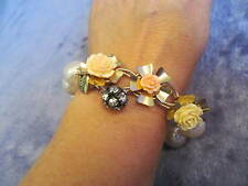 Betsey Johnson VINTAGE CARVED ROSES Charm Stretch Bracelet PEARLS Rose Garden?
