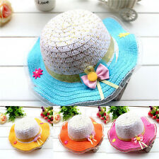 New Cute Baby Kids Hat Bowknot Summer Sun Straw Hats Large Brimmed Beach Caps oy