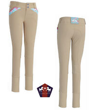 NEW Equine Couture Childs Bindia Knee Patch Breeches - Tan/Blue 10, Tan/Wht 6