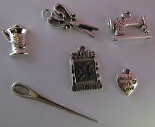 Knitting Quilting sewing machine scissors needle yarn spinning wheel charm sets