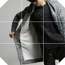 Hot sale! Mens Winter Thicken Faux fur lined Knting Sweater Hooded Cardigan Coat
