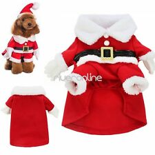NEW Pet Dog Christmas Gift Clothes Santa Claus Costume Outwear Xmas Coat Outfit