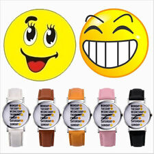 Unique Cute Happy Sad Face Expression Cute Women Girl Lady Quartz Wrist Watch