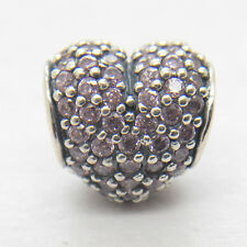 Genuine  S925 Sterling Silver Lavender Pave Heart Charm
