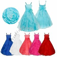 Flower Girl Straps Princess Pageant Bridesmaid Wedding Birthday Party Long Dress