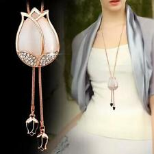 New Charm Woman Pink Tassel Flowers Buds Crystal Pendant Long Sweater Necklace/
