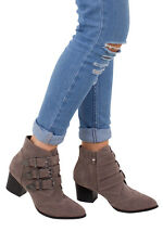 Womens Khaki New Block Heel Buckle Detail Ladies Ankle Biker Style Boots Shoes