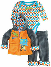 Duck Goose Baby Boys Trouble Little Robot Sherpa Jacket Bodysuit 3Pc Pant Set