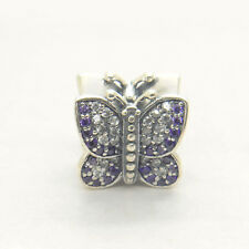 Genuine Authentic S925 Sterling Silver Sparkling Butterfly Purple Pave Cz Charm