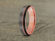 Tungsten Wedding Band,Rose Gold,Brushed,Black,His,Hers,Comfort Fit,6mm,8mm,Dome